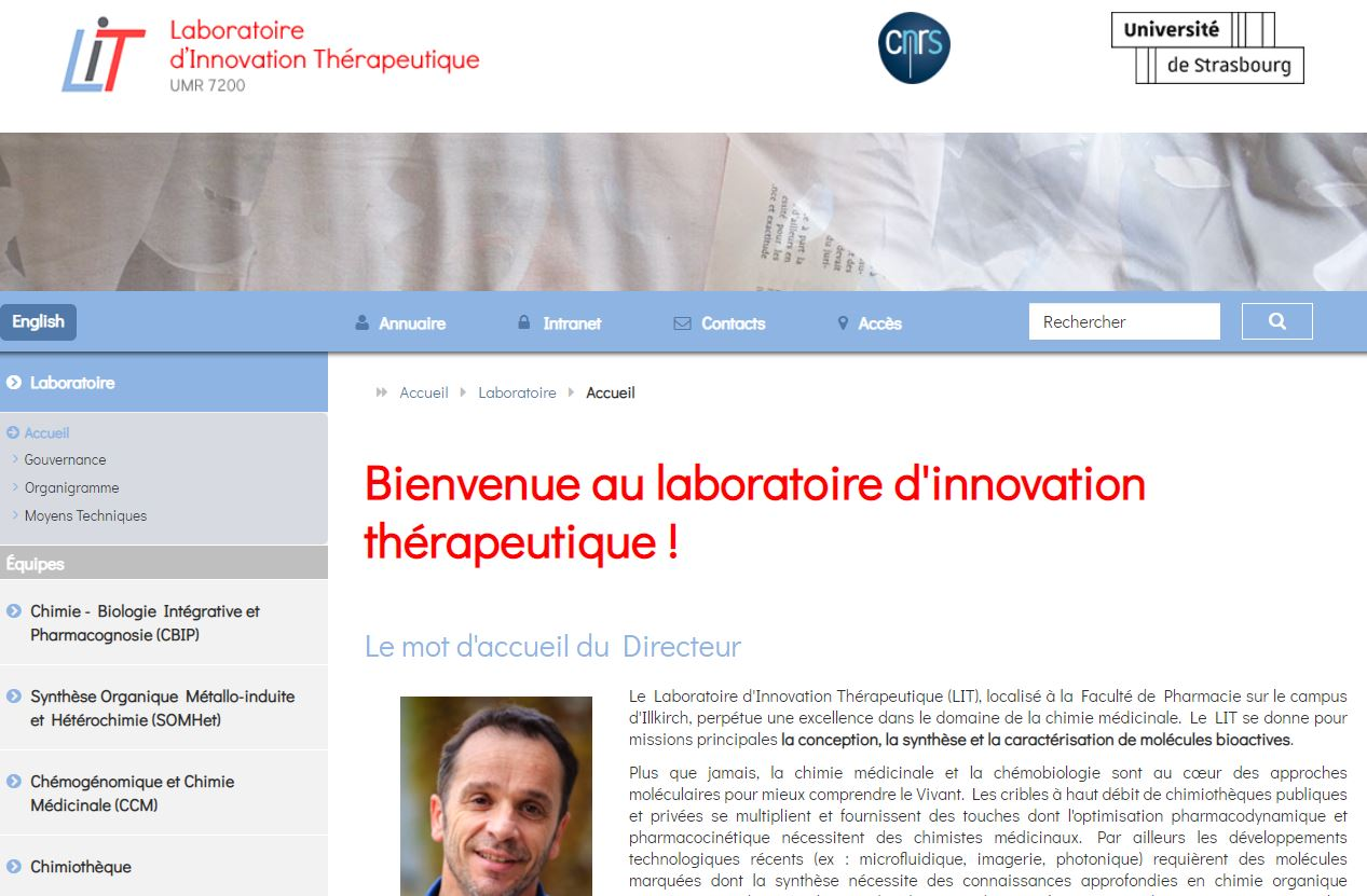 Home page site web Laboratoire d'Innovations Thérapeutique